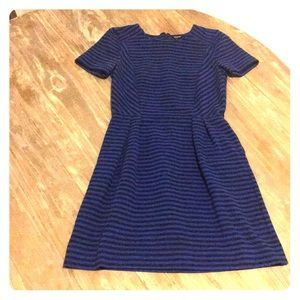 Madewell Black&Blue Striped Pleated Dress